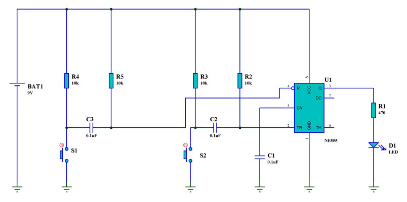 Circuit Diagram of a Bistable Multivibrator using a 555 timer IC