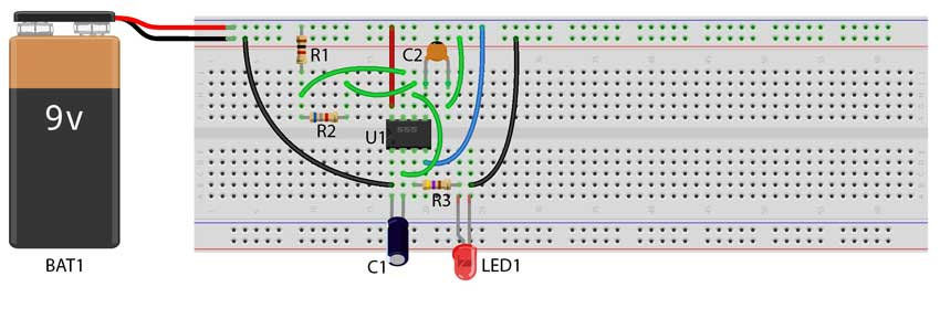 555 astable multivibrator circuit on breadboard