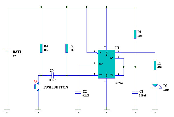 A 10-seconds output monostable multivibrator using a 555 timer.