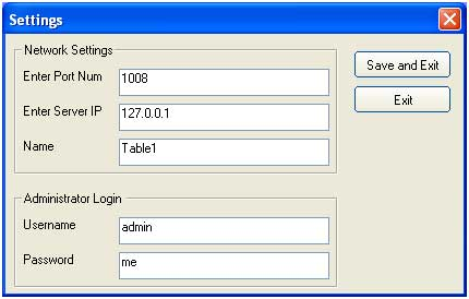 Settings dialog of the food and beverage billing system