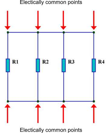Resistors in parallel always share two common points.